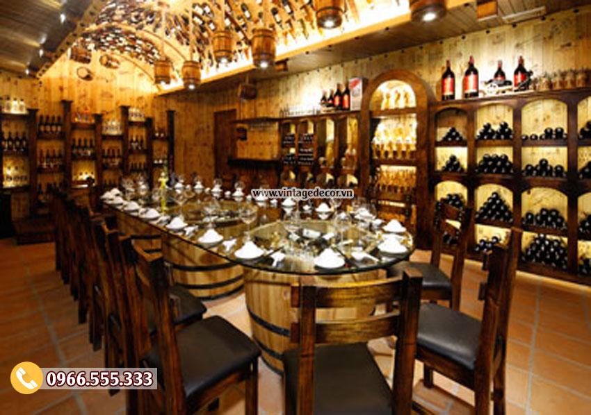 Mẫu thiết kế nhà hàng rượu vang bằng gỗ thông BR23