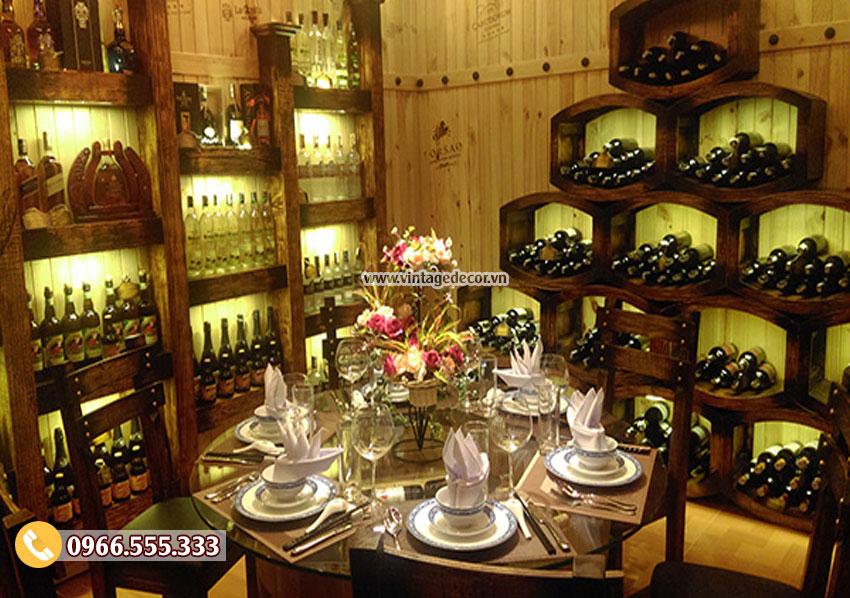 Mẫu trang trí nội thất nhà hàng rượu vang BR26