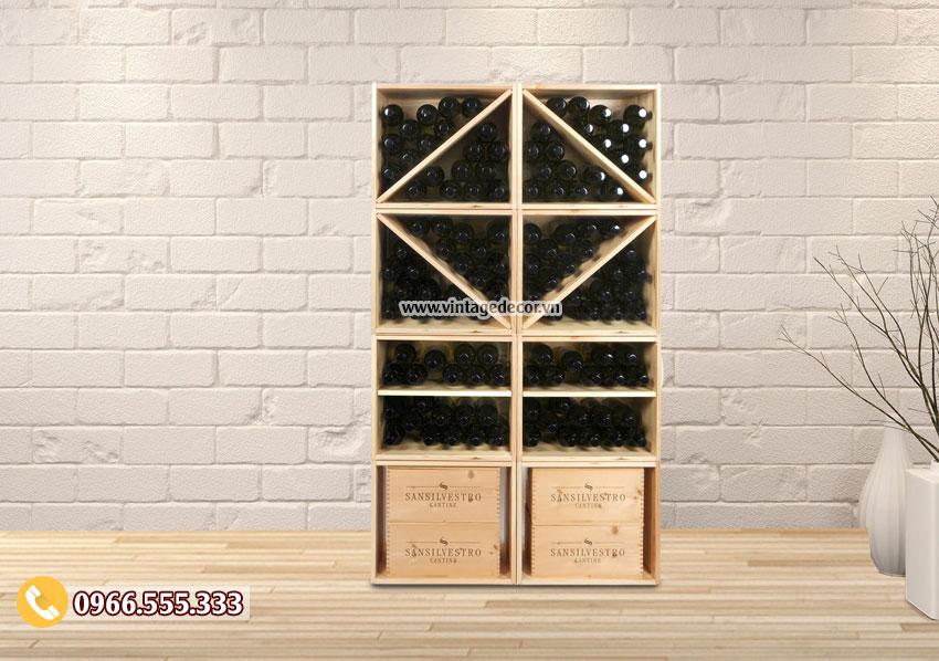 Mẫu kệ rượu vang gỗ trang trí phòng khách TBR44