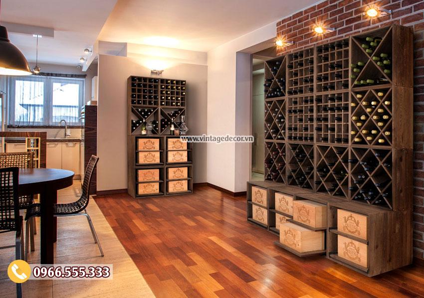 Mẫu kệ rượu vang lắp ghép cho gia đình TBR51