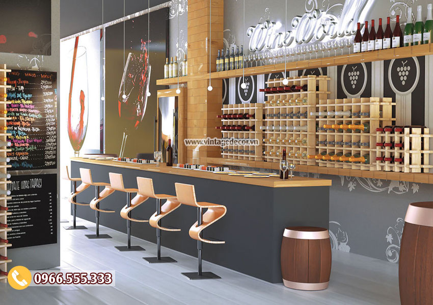 Mẫu kệ rượu trưng bày quán bar, showroom rượu đẹp TBR49