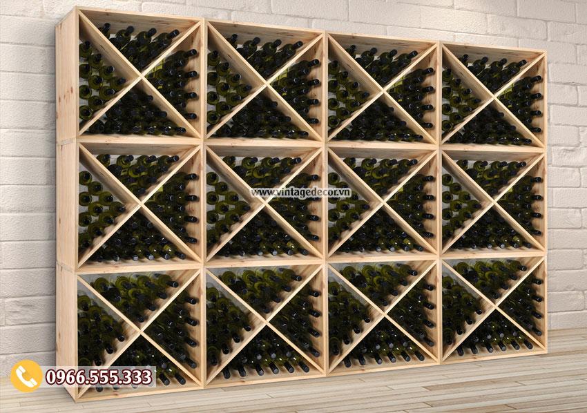 Mẫu kệ trưng bày rượu vang lắp ghép TBR57