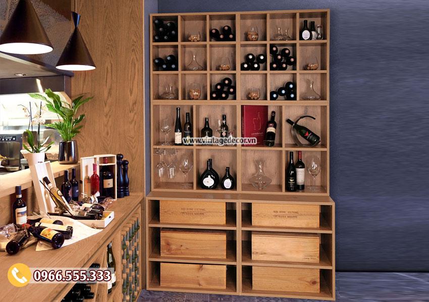 Mẫu tủ lưu trữ rượu vang góc tường TBR41