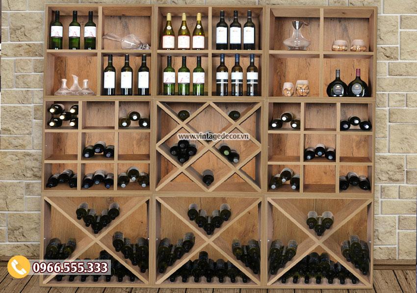 Mẫu tủ rượu vang trang trí gỗ sồi đẹp TBR42