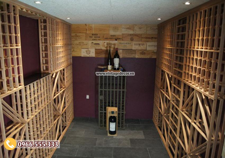 Mẫu thiết kế hầm rượu cổ điển đẹp HR90