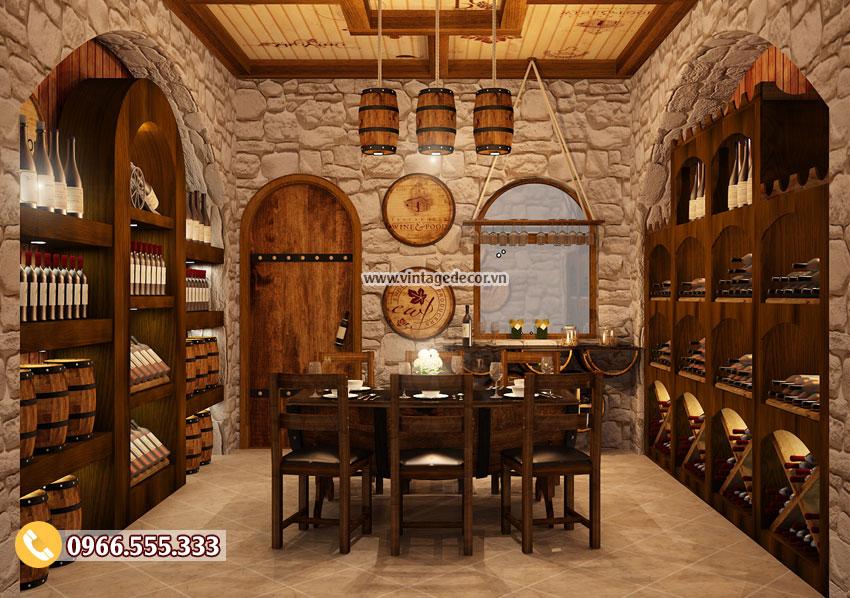 Mẫu thiết kế phòng Vip nhà hàng hầm rượu vang BR50