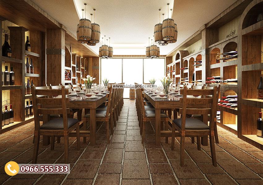 Mẫu thi công nhà hàng hầm rượu cổ điển BR51