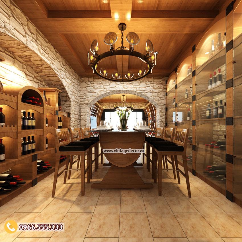 Mẫu thiết kế nhà hàng hầm rượu vang đẹp BR52