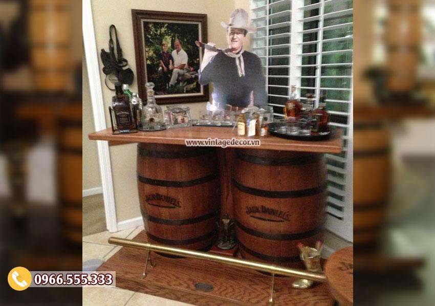Mẫu quầy bar thùng trống rượu gỗ sồi DL41