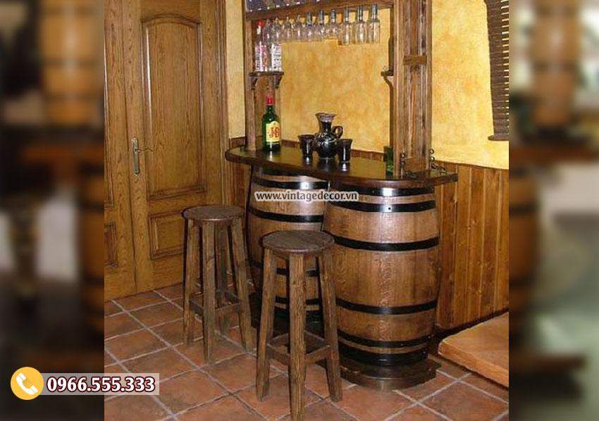 Mẫu quầy bar tái chế từ thùng trống rượu DL46