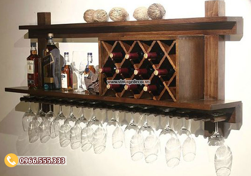 Mẫu kệ rượu trang trí treo tường KR21