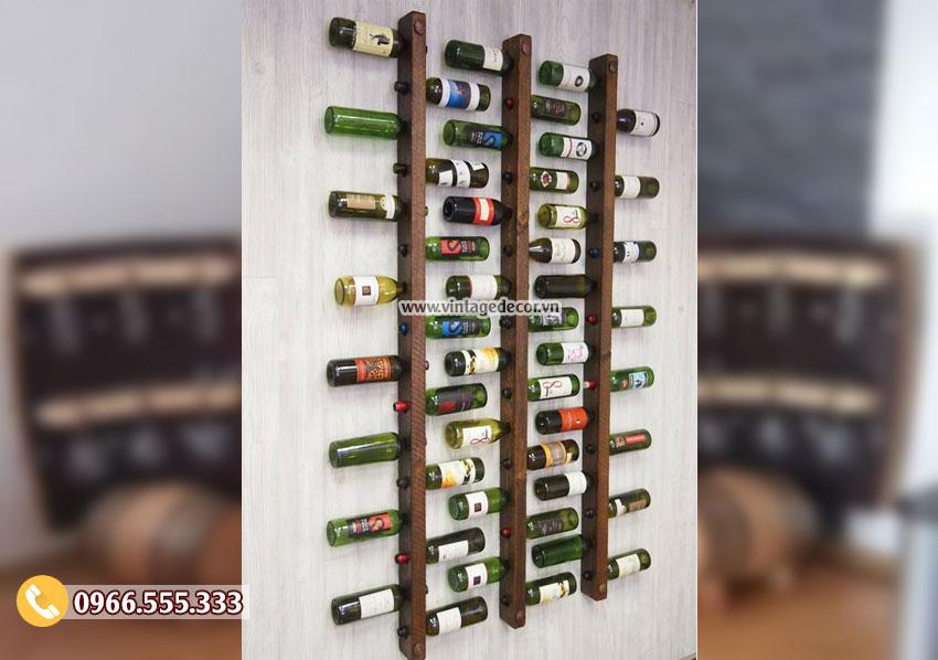 Mẫu kệ rượu gắn chai treo tường KR25