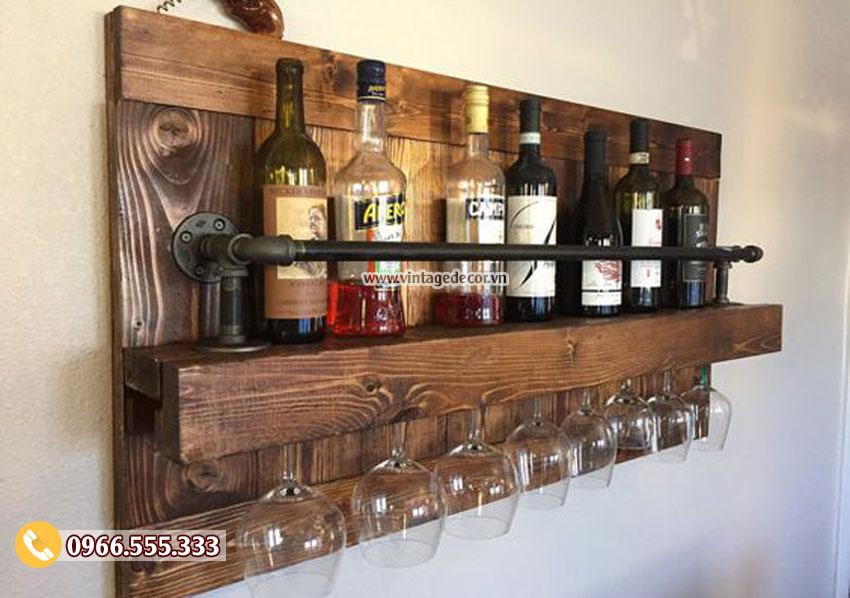 Mẫu kệ rượu trang trí gắn tường KR29