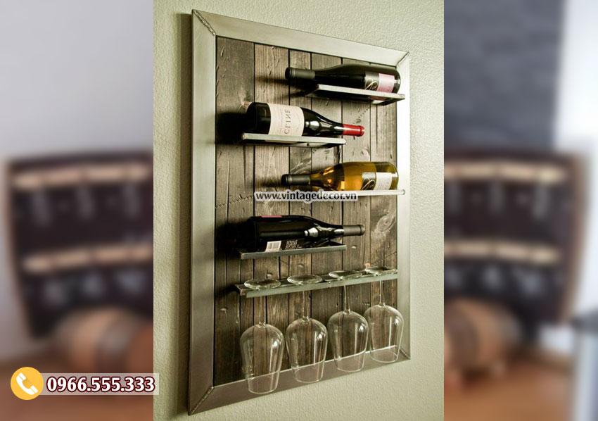 Mẫu kệ rượu trang trí gắn tường KR45