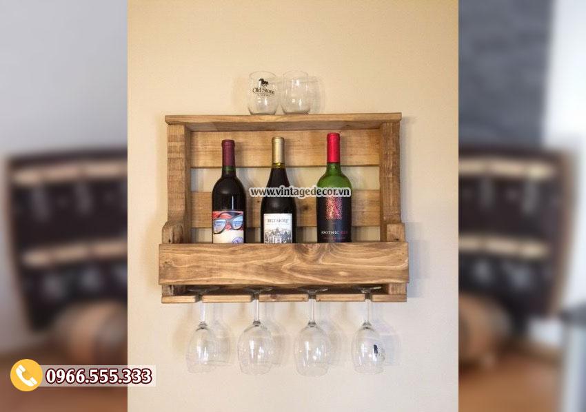 Mẫu kệ rượu vang gắn tường mini KR42