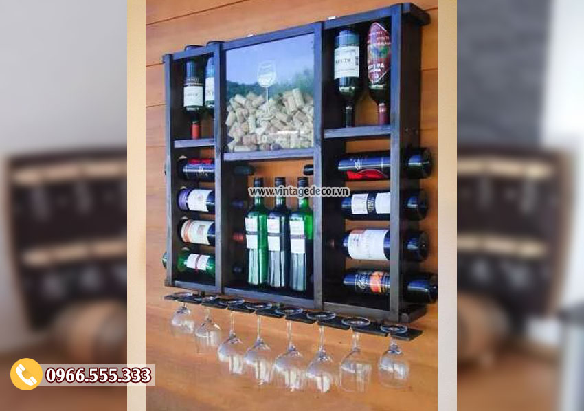 Mẫu kệ rượu treo tường gỗ sồi đẹp KR39