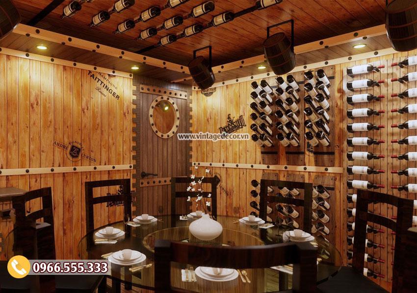 Mẫu thi công nhà hàng hầm rượu vang cổ điển đẹp BR93