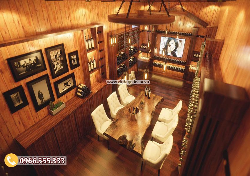 Mẫu trang trí nội thất nhà hàng hầm rượu đẹp BR89