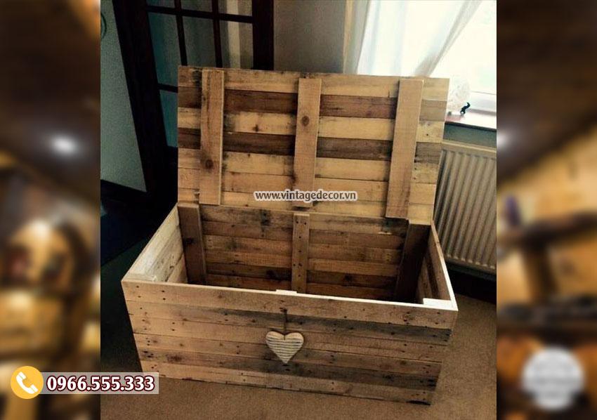 Mẫu rương gỗ lưu trữ Vintage RG16