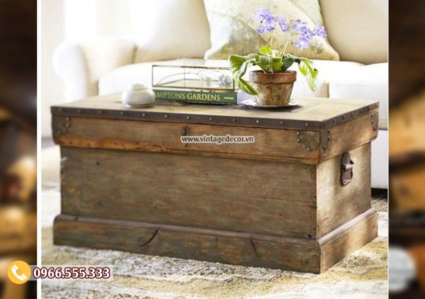 Mẫu rương gỗ lưu trữ kết hợp bàn sofa RG07