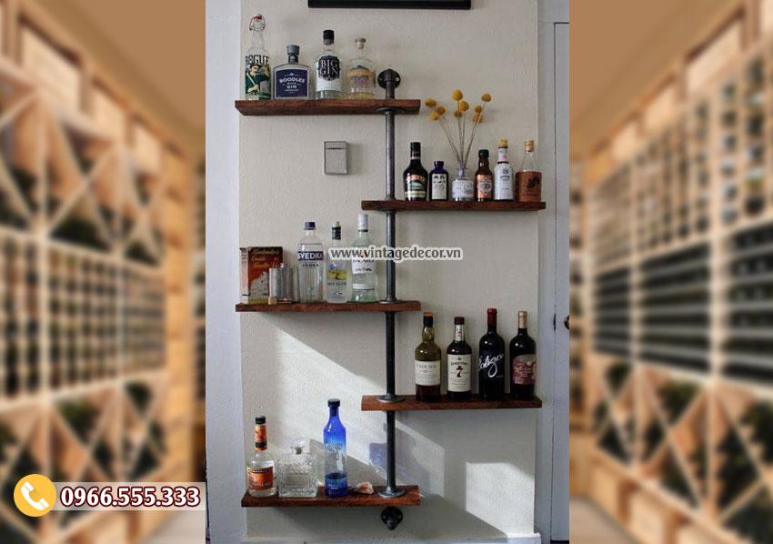 Mẫu kệ rượu treo tường phòng khách đẹp KR91