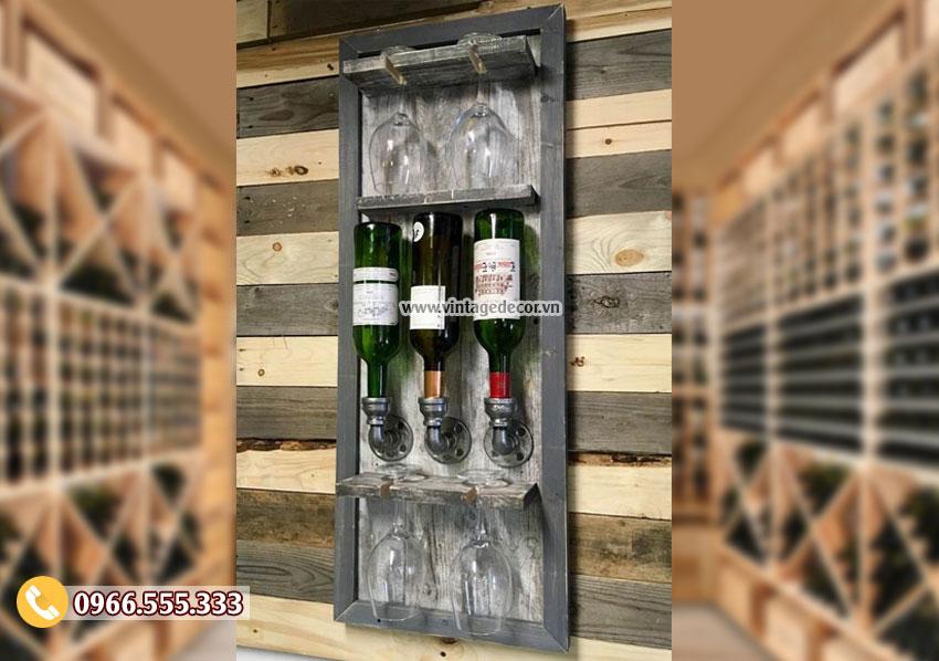 Mẫu kệ rượu treo tường sáng tạo tiện ích KR94