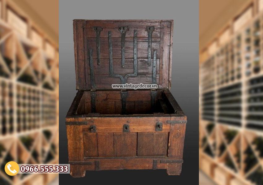 Mẫu hộp rương gỗ thông để lưu trữ RG37