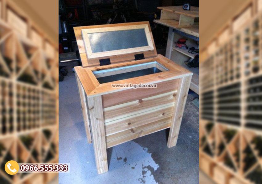 Mẫu rương gỗ kết hợp bàn sofa đẹp RG35