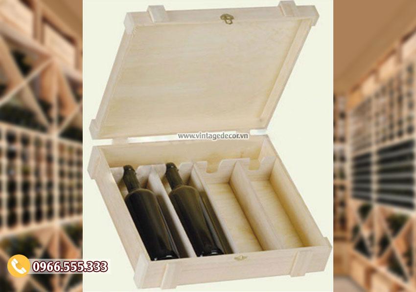 Mẫu hộp gỗ thông đựng rượu vang đơn giản HDR93