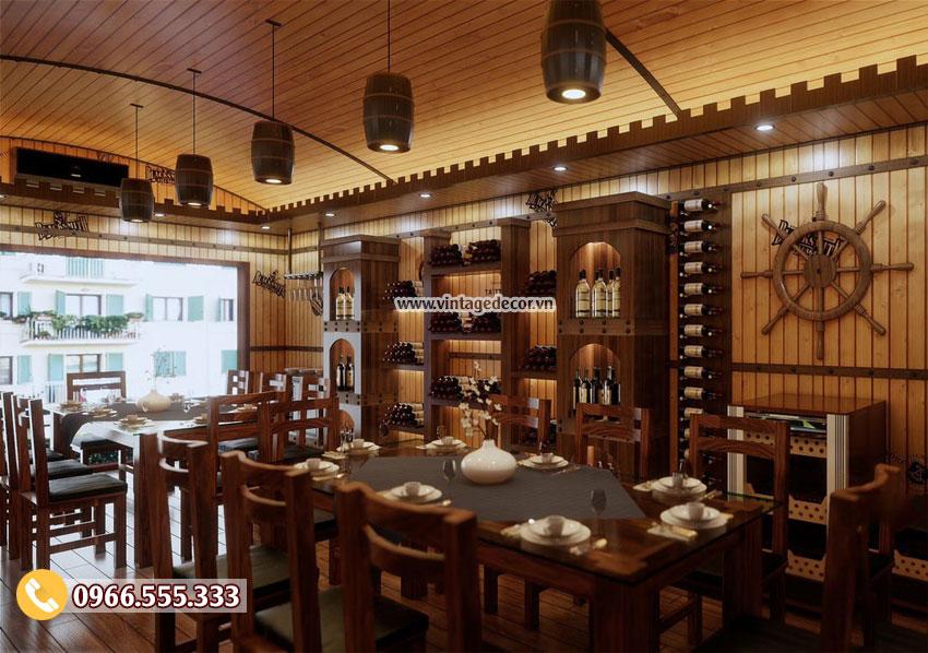 Thi công và thiết kế trọn ngói nhà hàng hầm rượu