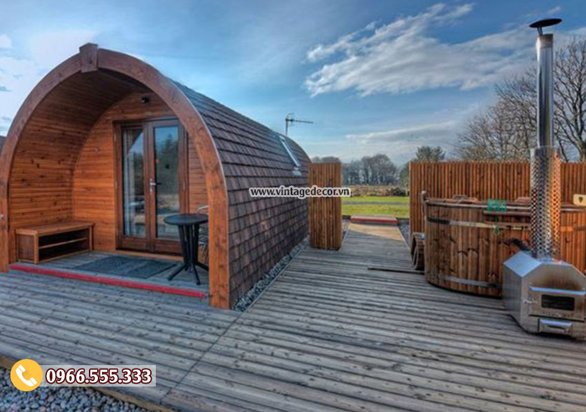 Mẫu bungalow trong resort nhà ống mái vòm NB59