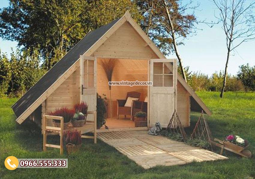 Mẫu thiết kế nhà gỗ cấp 4 trong vườn đẹp NB25