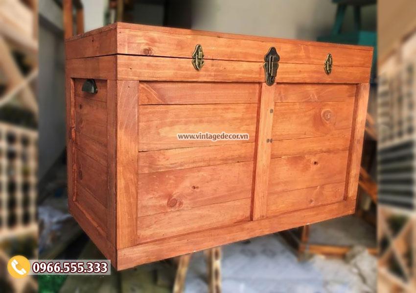 Mẫu hộp rương gỗ thông lớn có khóa vintage RG75