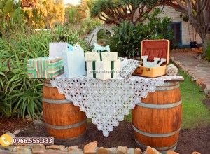 Mẫu bàn thùng rượu trang trí ngoài trời DL14