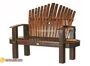 Mẫu ghế băng từ thùng rượu gỗ sồi DL25