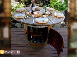 Mẫu bàn ăn từ thùng rượu gỗ sồi DL32