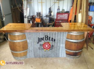 Mẫu quầy bar thùng rượu vang tái chế DL33