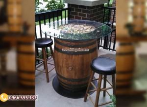 Mẫu bộ bàn ghế thùng trống rượu mặt kính DL39