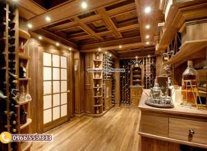 Mẫu thiết kế hầm rượu vang gia đình phong cách cổ điển HR103