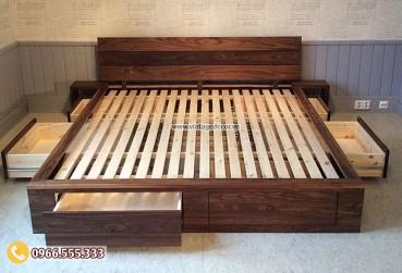 Mẫu giường ngủ gỗ tự nhiên phong cách Vintage GN02