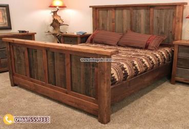 Mẫu giường ngủ phong cách retro cổ điển GN03