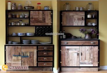 Mẫu tủ bếp phong cách retro cổ điển TV01