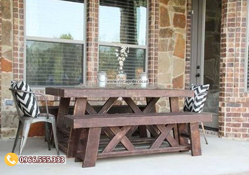 Mẫu bộ bàn ghế băng cổ điển BG23