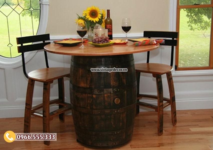 Mẫu bộ bàn ghế thùng rượu cổ điển BG04
