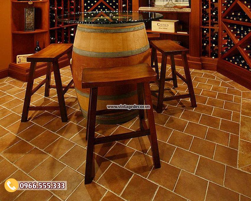 Mẫu bộ bàn ghế trang trí hầm rượu cổ điển BG12