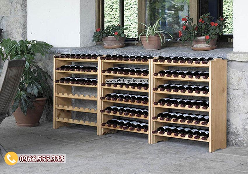 Mẫu kệ rượu gỗ tự nhiên đẹp TBR23