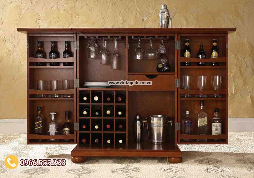 Mẫu tủ rượu thông minh gỗ sồi đẹp TBR25