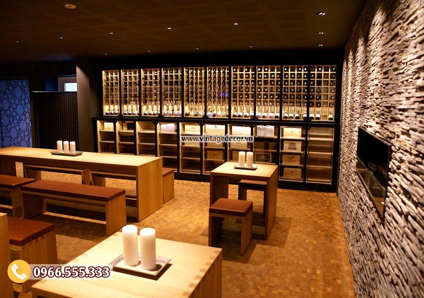 Mẫu thiết kế nhà hàng rượu vang cổ điển BR20