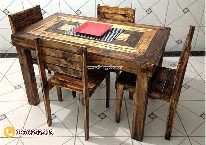 Mẫu bộ bàn ghế gỗ thông đẹp BG18