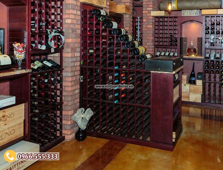 Mẫu hầm rượu vang gỗ thông mới HR13